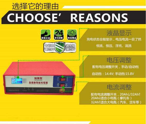 摩托车汽车充电机20a12v/24v自动识别智能脉冲修复型