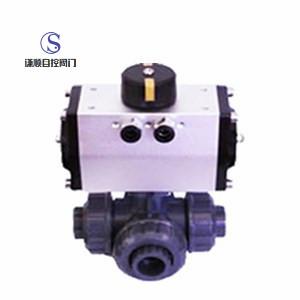 q614/615s 气动塑料三通球阀图片